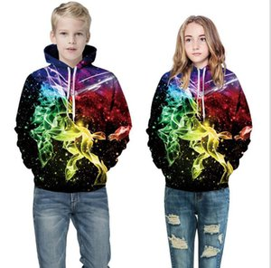 Direct sales of European and American cross-border new products 3D digital printing children's hooded Pullover Sweater long sleeve autumn an