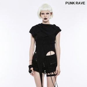 Gothic Casual Cotton Short Sleeve Tops Sweatshirt Punk Rock Irregular hem Stitching Women Hooded T-shirt PUNK RAVE OPT-153TDF