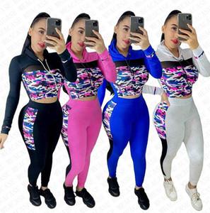 Frauen Kleidung Sets Anzug Tarnung Designer Outfit Mesh-Patchwork Pullover mit Kapuze Spitze Hosen Leggings Herbst Sport Sweatsuit D72811