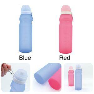 Garrafas de silicone Folding Sports água portátil viagem 600ML Grande Capacidade Outdoor Bottle Folding Cups Cozinha Criativa Grade Água DH1365 T03