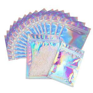 100 peças resealable mylar bags cor holográfica tamanho múltiplo tamanho cheiro comprovado sacos zip bloqueio alimento doces armazenamento embalagem sacos d0502