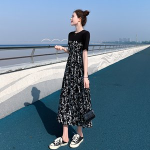Down Jacket Dress Womens 2020 Summer New Hepburn Style Midi Stitching Floral Dress Temperament High Waist Slim Dress Summer