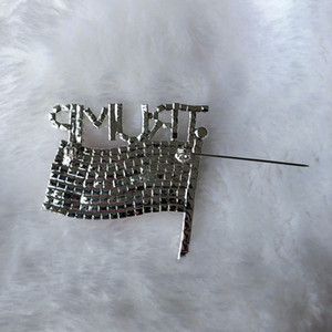 Trump Brooch Pin Diamond Flag Brooch Rhinestone Letter Trump Brooches Crystal Badge Coat Dress Pins Clothes Fashion Jewelry GGA3593-2
