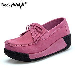 BeckyWalk Automne fond épais Plate-forme Chaussures Femmes Chaussures Chaussures Casual Suede en cuir femme Glands Zapatos mujer LoaferWSH2893