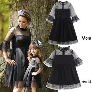 Mommy and Me Family Matching Clothes Black Lace Dress Girls Mother Daughter Dresses Boutique Kids Clothing Parent Child Outfits Y200713
