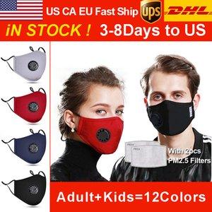 koruma pamuk çocuk maskelerine 2 filtre vanaları ile DHL Yıkanabilir maskeleri yeniden kullanım için nefes ve toz geçirmez PM2.5 maskeleri