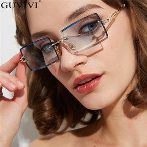 Guvivi Прямоугольник Rimless Солнцезащитные очки Мода Женщины Мужчины металлический каркас Солнцезащитные очки Оттенки Vintage зеркало объектива очки óculos UV400