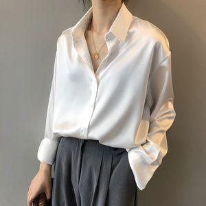 2020 botón de la moda Hasta satén de seda camisa de la blusa de las mujeres de la vendimia blanca de manga larga Camisas tapas de las señoras camisa elegante de la Oficina Coreana