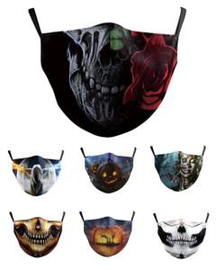 DHL Adult модельер хлопок многоразовых маски для лица Черепа флаг цифровых масок Halloween Party Cosplay многоразового Dust ветрозащитных Праздничной маска