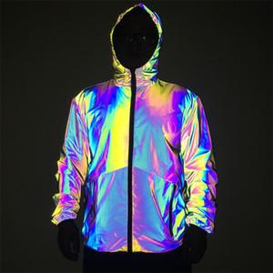 Coloré réfléchissant Hommes Desigenr Veste Proof Mode eau coupe-vent Veste à capuche Casual Automne Hiver Hommes Manteaux