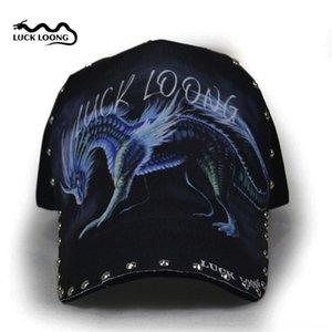 캡 야구 모자 기린 패턴 야구 모자 LUCK 룽 패션 모자 리벳 블랙 스타일의 개성