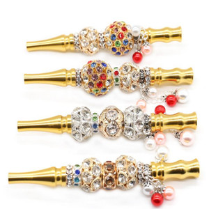 Bling Bling Metal Mouth Tips Aluminum Alloy Mouthpiece Drip Tip Smoking pipes With Jewelry cigarette holders YYA189