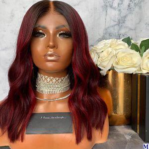 Mettez en surbrillance 150Density Bob Red Hair Transparent Lace Front perruques de cheveux humains avec bébé cheveux Glueless pleine perruque de dentelle pour les femmes noires