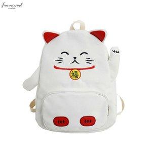 Lucky Cat Shoulder Bag For Women Girls Cartoon Mini Messenger Bag Animal Shape Teenager Student Lovely Canvas Pack Bags New