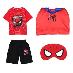 2020 new Summer Spider-Man boys suits casual kids suits children clothing 4pcs set T shirt+shorts+cloak+ mask big boys clothes B1465