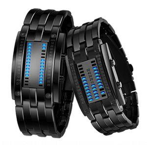 Hot Korean binary LED men's tungsten Watch steel Fashion couple steel strip watch 0926