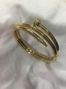 2020 classic three-ring diamond nail bracelet jewelry stainless steel