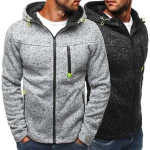 Sweat Hoodies Pure Color Zipper Casual Men Slim épaissie Polaire Sweats à capuche en molleton à manches longues