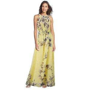 Wholesale- New Big Size Fashion Floral Printing Maxi Dresses Long Chiffon Sundresses Fashion Women Summer Style Female Girl Boheminan Dress