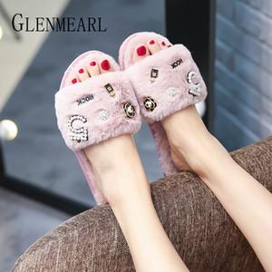 Zapatillas zapatos de las mujeres de piel de invierno Diapositivas Indoor Shoes hogar cálido zapatillas de casa de pisos de deslizamiento en hembra del flip-flop informal DE