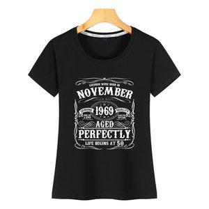 Tişörtlü Kadınlar komik Kasım 50th birthday giyim 1969 Komik Harajuku Pamuk Kadın Gömlek doğmuş Tops