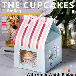 StoBag 5шт Рождество дома Box с окном сдобы Cup Cake Box Шоколадное печенье Нуга Упаковка младенца Birthday Party подарок
