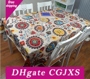 Europäische Baumwolle Leinen Mittelmeer-Art-Quadrat Tischdecken Sunflower Abdeckungen drucken Tischtuch für Hochzeit Tischtuch
