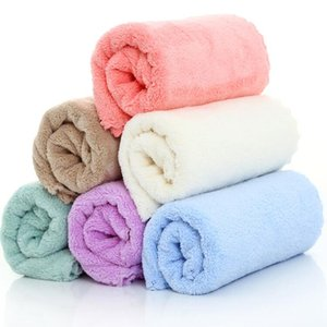 Havlu Saf Renk Yüz Havlusu Yumuşak Coral Polar Havlu Yetişkin Çocuk Banyo Süper Emici Açık Taşınabilir Tekstil LSK284 için Hızlı Kuru Havlu