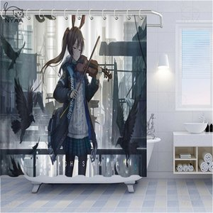 BESTORY Anime Shower Curtains Arknights Cartoon Bath Curtain Bunny Girl Home Decor Waterproof Polyester Fabric Curtains For Bathroom Gift