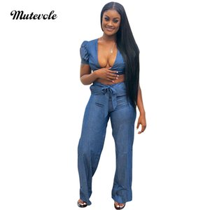 Mutevole Womens Denim Outfits Sexy Two Piece Sets Tie Bow Crop Top and Pants 2 Piece Set Ladies Flare Leg Jeans Trousers Set