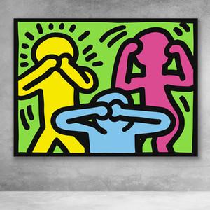 Wandkunstwerk Modular No Evil Keith Haring Drucke Malerei Cartoon-Leinwand Bilder Moderne Wohnkultur Bedside Hintergrund