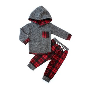 Toddler Boy Winter Kids Clothes Set Red Plaid Hoodie Tops Pants Tracksuits Children Clothing Christmas For Boys Outfits Suit