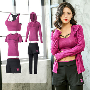 E-Baihui 2020 New Quick-drying Sports Suit Leisure Running and Fitness Breathable Yoga Wear Five-piece Suit Yoga0080