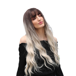 26\'\' Graceful Women Long Curly Wavy Ombre Wigs With Bangs For Daily Cosplay