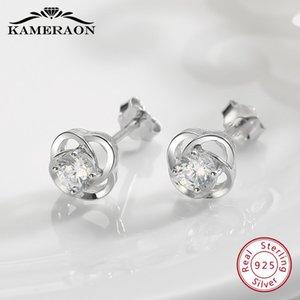 Zirkon Taşlar Earing Parti Shine Takı ile saplama Küpe Kameraon 925 Silve Lotus Küçük saplama Küpe Kadınlar Kristaller Catkins