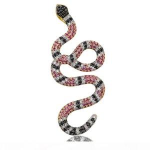 A Jinao New Hip Hop or Collier serpent coloré pendentif Micro Pave Zircon Glacé Bijoux Homme Animal Femmes Coffret Cadeau