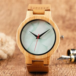 Novel Creative Marble Dial Design Men's Watches Nature Wood Analog Quartz Display Watch Bamboo Clock with Brown White Leather Strap