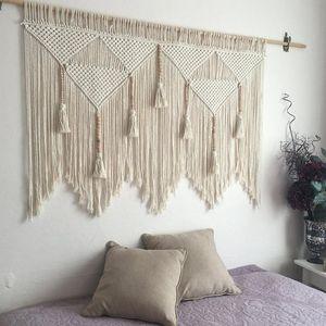 Colgando de macramé pared tejida de algodón de Bohemia Boho de la cuerda Tapiz Tapiz Decoración Dormitorio ornamento decorativo