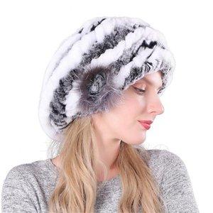 Rex Rabbit Fur Hat Женские береты осень зима мех вязаная корейской моды универсальный меховой шляпе специальной цене