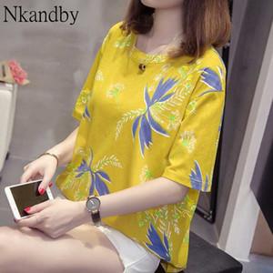 Yaprak Kadınlar Baskı Nkandby Artı boyutu Tişört Yaz kısa kollu Casual Gevşek 4XL Tee gömlek Oversize Pamuk Tatil tişörtler Tops