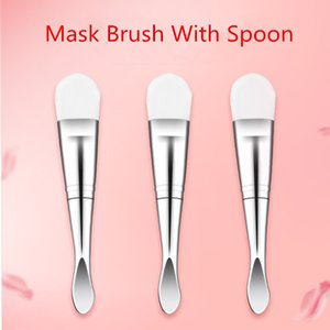 Double Head Mask Brush With Spoon Facial Skin Care Makeup Face Mask Brush Soft Makeup Cosmetics Facial Mask Mixing Concealer Powder Brus
