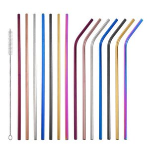 colorful Drinking Straw Stainless Steel Straight Bent Reusable Straws Juice Milk Party Bar Straw 215*6mm KKA6432