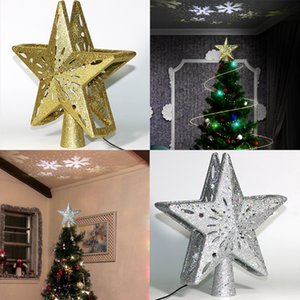LED Light 3D Christmas Treetop Twinkling Stars Light Christmas Decoration Pendant Rotating Snowstorm Projection Lighting Lamp