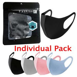 Индивидуальный пакет, Ice Моющийся Велоспорт маска для лица Черный Подарочный пакет анти пыли PM2.5 Респиратор пылезащитный антибактериальное многоразовый шелковых сумки