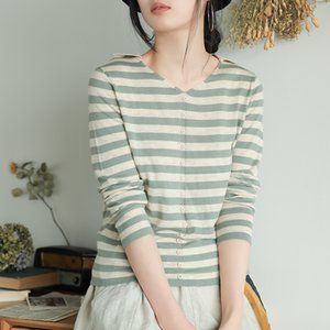 Johnature New Solid Color 2020 Autumn Striped Knitting All- match Casual Sweaters Loose Pullover Women Simple V-Neck Sweaters