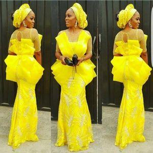 Aso Ebi Yellow Mermaid Evening Dresses Sheer Neck Half Sleeves Plus Size Prom Dress vestidos de noite African Women Party Gowns
