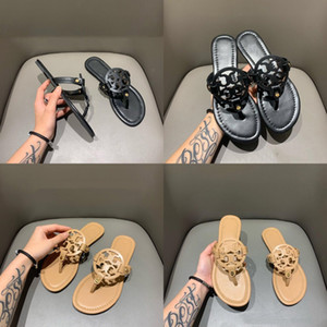 Summer 2020 Ladies Chic And Classic Graceful Cowhide Sandals With A Cross-Stitch Toe Round Head And Flat Slippers With Original#244