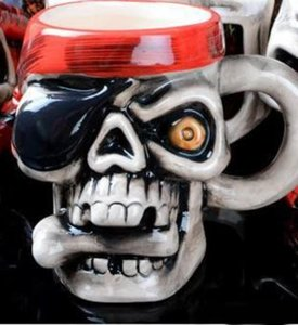 Novel Ceramics Cup Personality Pirate Skull Head Design Mug With Thickened Handle Tumbler Gift Easy Carry 8 5hf cc