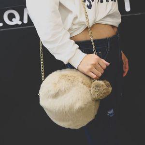 Yeni kürk Kore tüy yumağı moda kadın zincir omuz çapraz çanta Peluş Çanta Pendant çantası top kolye çantası