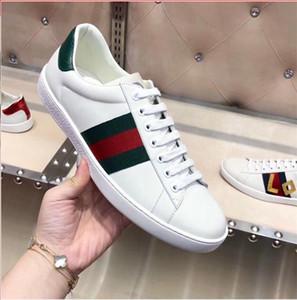 gucci shoes 2020 designer de GG Luxo calçados casuais Ace Bordados abelha Tiger cobra chata sapatilha Esportes Formadores couro genuíno Homens Mulheres Sapatos